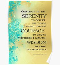 Serenity Prayer Blue Gold Flowers Poster