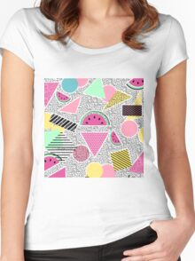 Modern geometric pattern Memphis patterns inspired Women's Fitted Scoop T-Shirt