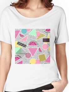 Modern geometric pattern Memphis patterns inspired T-shirt femme coupe relax