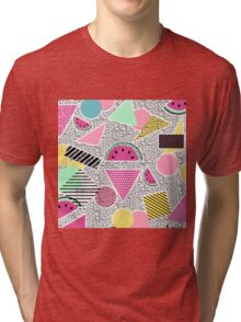 Modern geometric pattern Memphis patterns inspired Tri-blend T-Shirt