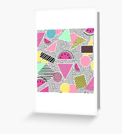 Modern geometric pattern Memphis patterns inspired Greeting Card
