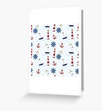 Nautical Boat, Lighthouse, & Anchor Greeting Card
