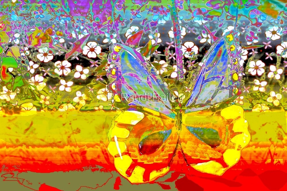 Butterfly and the garden wall by ♥⊱ B. Randi Bailey