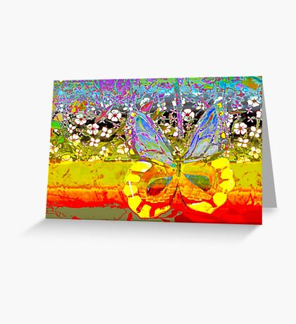 Butterfly and the garden wall Greeting Card