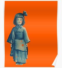 little girl in blue Poster