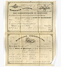 1889, PETER BARTON & KATE MCCLURE, MARRIAGE CERTIFICATE Poster