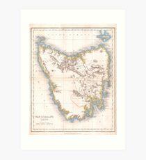 Vintage Map of Tasmania (1837) Art Print