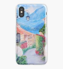 Small town street view in Bellagio, Lake Como Italy iPhone Case/Skin