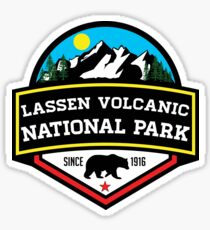 LASSEN VOLCANIC NATIONAL PARK CALIFORNIA  MOUNTAINS HIKE HIKING CAMP CAMPING Sticker