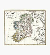Vintage Map of Ireland (1841) Photographic Print