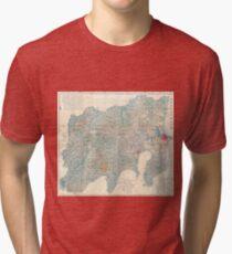 Vintage Map of Tokyo and Mt. Fuji Japan (1843) Tri-blend T-Shirt