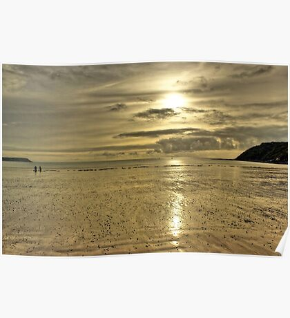 Beach Sunset - Oxwich Bay, Gower, Wales Poster