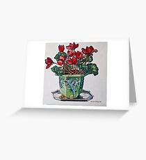 Cyclamen and old jardiniere 2012Ⓒ Oil on canvas Greeting Card