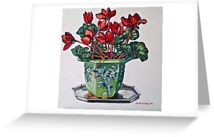 Cyclamen and old jardiniere 2012Ⓒ Oil on canvas by Elizabeth Moore Golding