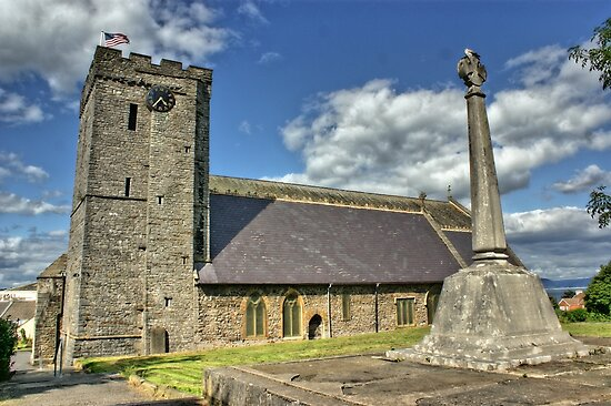 Old Norman Church in Wales (UK) showing USA Flag by Remo Kurka