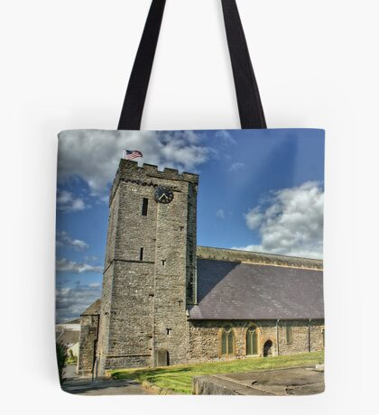 Old Norman Church in Wales (UK) showing USA Flag Tote Bag