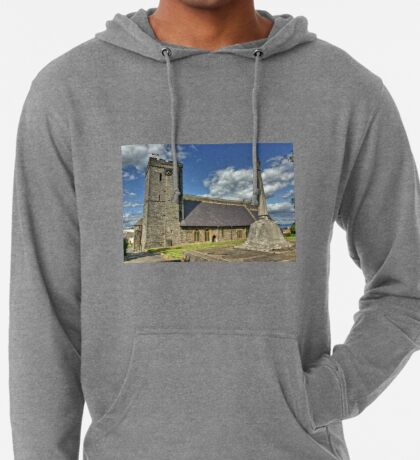 Old Norman Church in Wales (UK) showing USA Flag Lightweight Hoodie