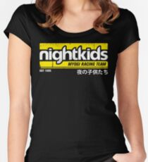 Initial D - NightKids Tee (White) Women's Fitted Scoop T-Shirt