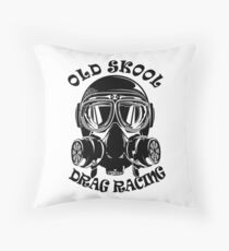 Old Skool Drag Racing Design Throw Pillow