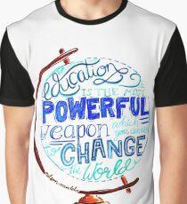 Nelson Mandela - Education Change The World, Typography Vintage Globe Design Graphic T-Shirt