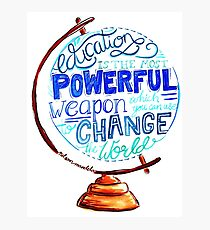 Nelson Mandela - Education Change The World, Typography Vintage Globe Design Photographic Print