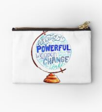 Nelson Mandela - Education Change The World, Typography Vintage Globe Design Zipper Pouch