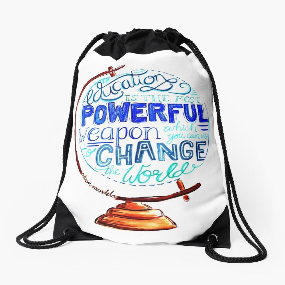 Nelson Mandela - Education Change The World, Typography Vintage Globe Design Drawstring Bag
