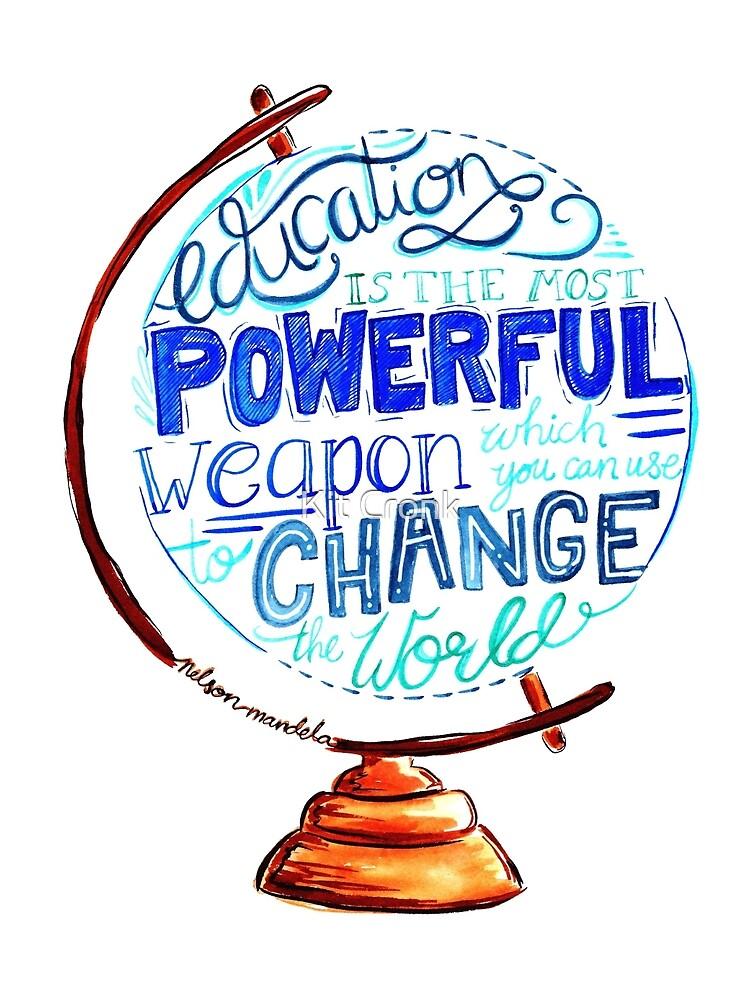 Nelson Mandela - Education Change The World, Typography Vintage Globe Design by rubyandpearl