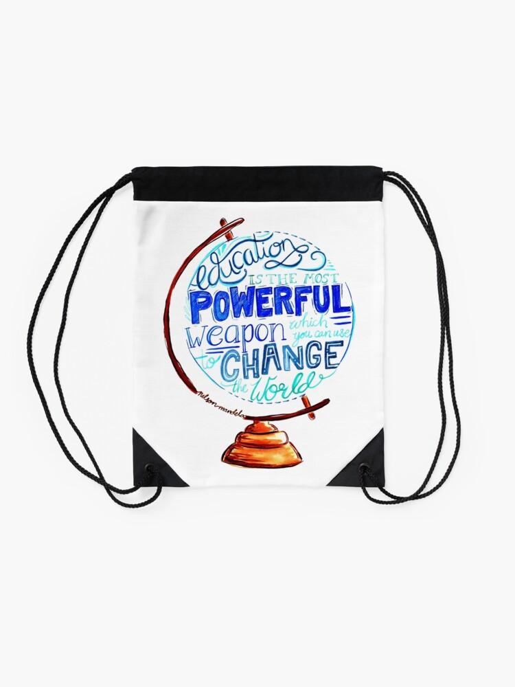 Alternate view of Nelson Mandela - Education Change The World, Typography Vintage Globe Design Drawstring Bag