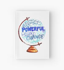 Nelson Mandela - Education Change The World, Typography Vintage Globe Design Hardcover Journal