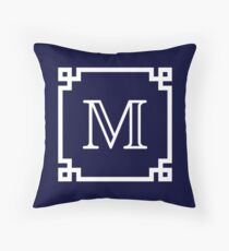 Navy Blue White Monogram M In A White Greek Key Frame Throw Pillow
