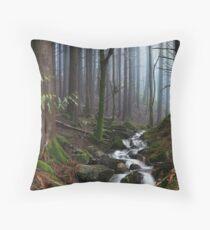 Misty Forest Stream Throw Pillow