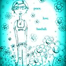 Blue Peace Love and Baseball - Whimsical Folk Art Girl by erica lubee  ~ SkyBlueWithDaisies