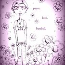 Purple Peace Love and Baseball - Whimsical Folk Art Girl by erica lubee  ~ SkyBlueWithDaisies