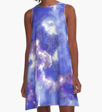 Hibiscus Impressionist Series - Blue A-Line Dress