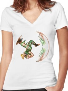 Guile Flash Kick Women's Fitted V-Neck T-Shirt