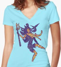 Psychedelic shankar Women's Fitted V-Neck T-Shirt