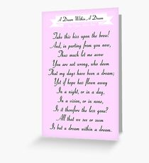 A Dream Within A Dream by Edgar Allan Poe Greeting Card