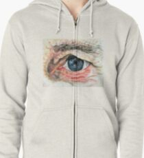 Watercolour Eye Zipped Hoodie