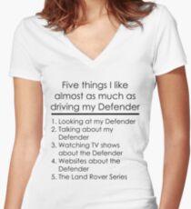 5 Things I Like - Defender Women's Fitted V-Neck T-Shirt