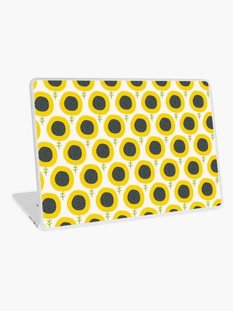 Simple abstract sunflower pattern  Doodle pastel seamless background  Cute  wallpaper    Laptop Skin