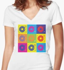 Vinyl Record Turntable Pop Art 2 Women's Fitted V-Neck T-Shirt