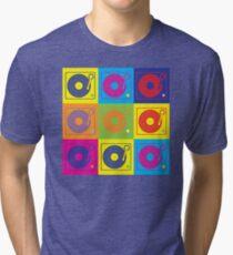 Vinyl Record Turntable Pop Art 2 Tri-blend T-Shirt