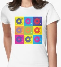 Vinyl Record Turntable Pop Art 2 Women's Fitted T-Shirt