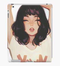 Cute lady yawning brush art iPad Case/Skin
