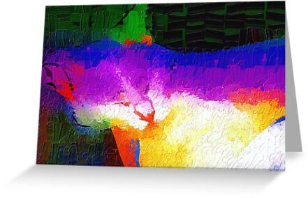 Colorful sleeping cat by ♥⊱ B. Randi Bailey