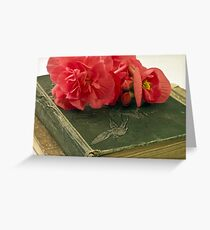 Begonias On Vintage Books Greeting Card