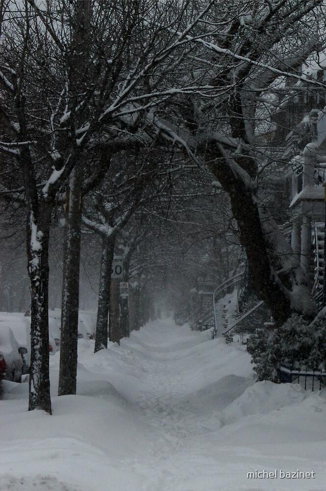 Winter Scene in Montreal by michel bazinet