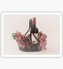 Basket of Wine and Fruit Sticker