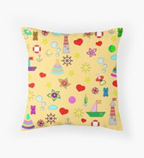 Pattern with toys and hearts Throw Pillow